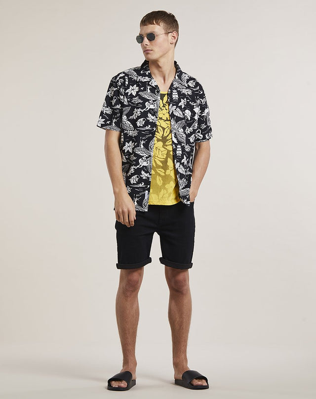 BELLFIELD ORVAR PRINTED MENS VEST | BLACK YELLOW