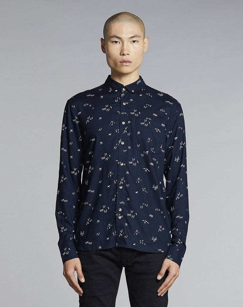 BELLFIELD OSINAGA PRINTED MENS SHIRT | NAVY