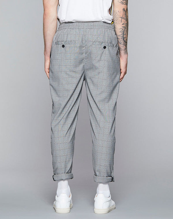 BELLFIELD PALAZZO CHECKED MENS TROUSERS | GREY