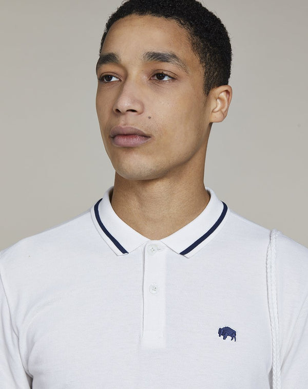 BELLFIELD PINE SHORT SLEEVE MENS POLO SHIRT | WHITE