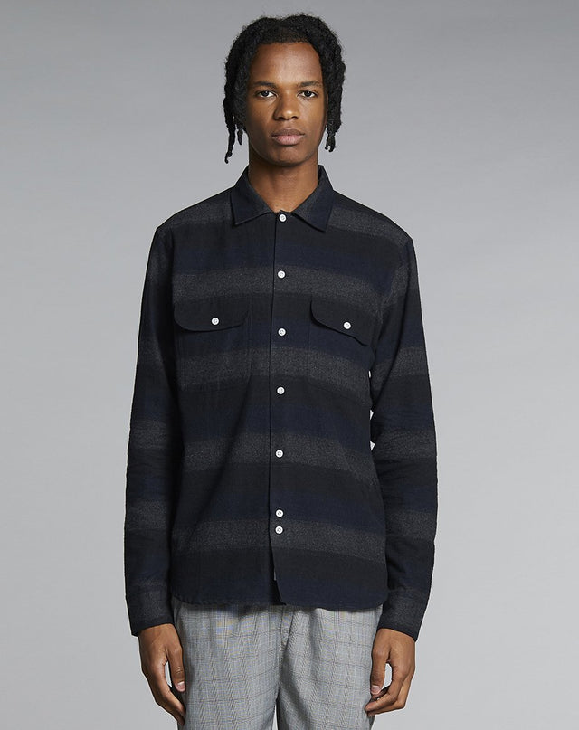 BELLFIELD PRADO FLANNEL MENS SHIRT | NAVY