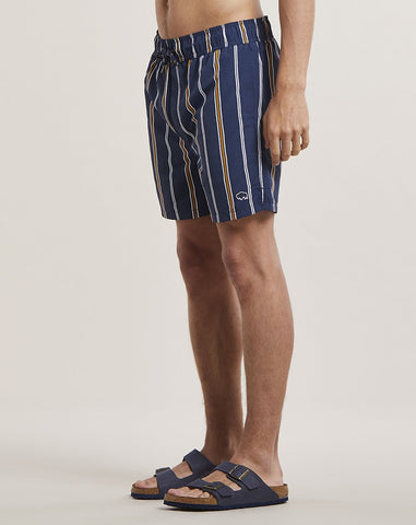 BELLFIELD PRETO STRIPED MENS SWIM SHORTS | NAVY