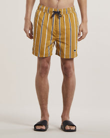 BELLFIELD PRETO STRIPED MEN'S SWIM SHORTS | TOBACCO