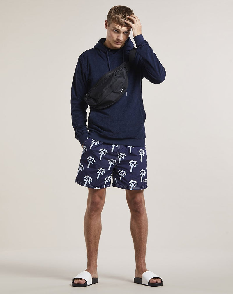 BELLFIELD PULCO PALM PRINT MENS SWIM SHORTS | NAVY