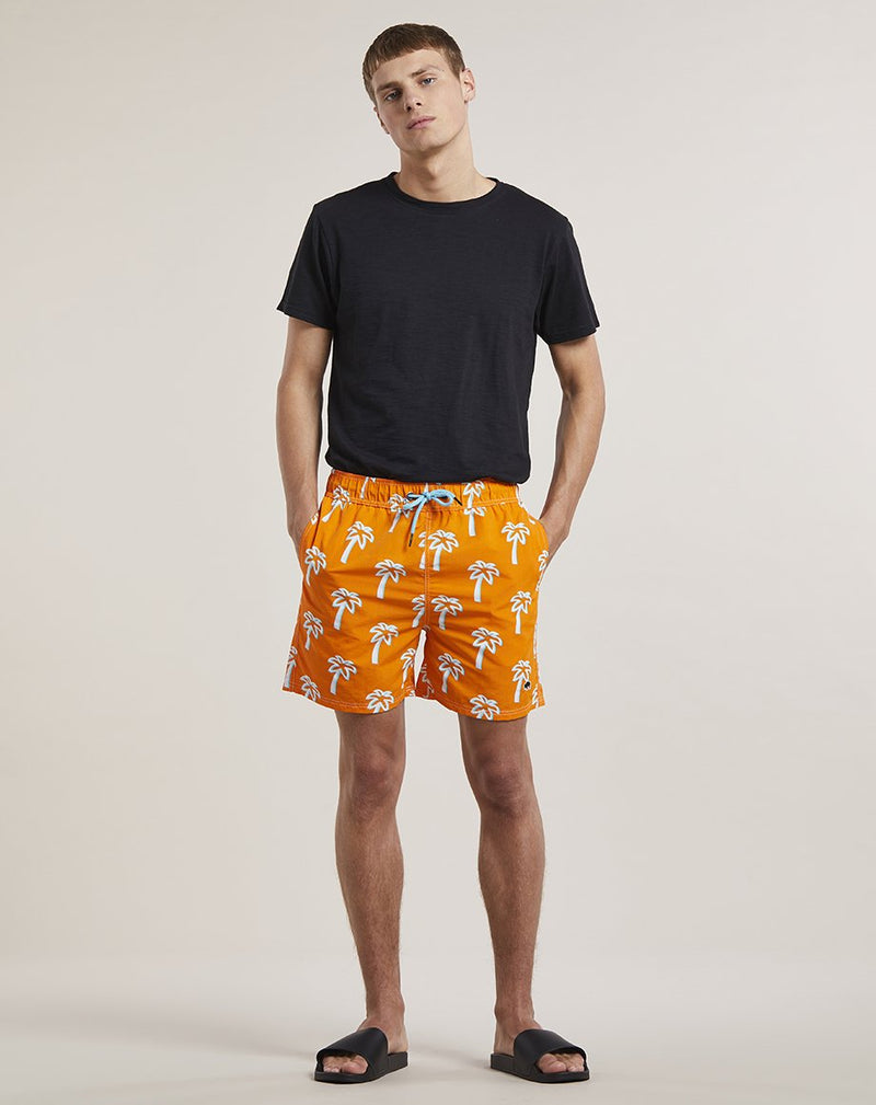 BELLFIELD PULCO PALM PRINT MENS SWIM SHORTS SHORTS | ORANGE