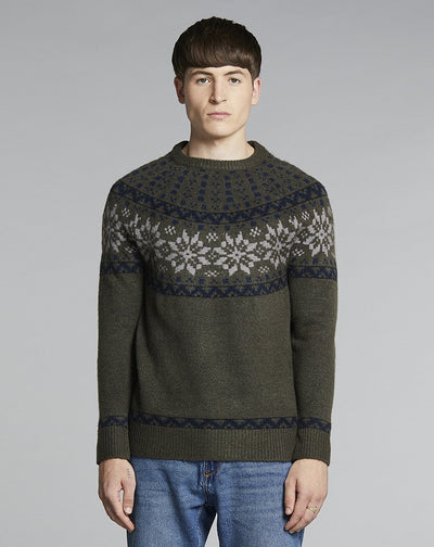 BELLFIELD RAGGI KNIT MENS JUMPER | DARK OLIVE
