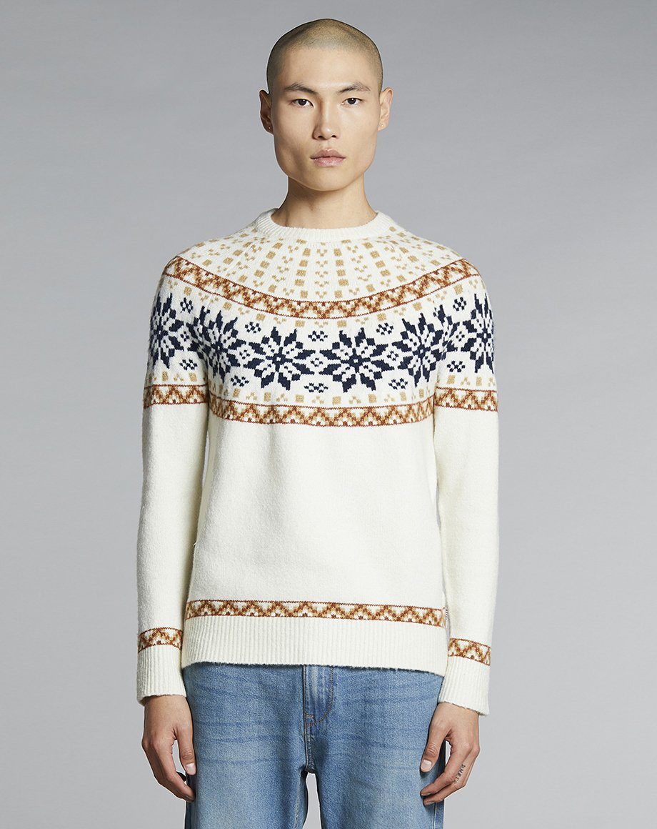 BELLFIELD RAGGI KNIT MENS JUMPER | OFF WHITE