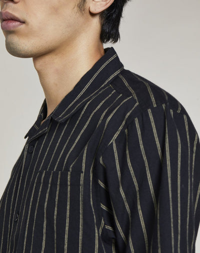 BELLFIELD REQUIEM STRIPED MENS SHIRT | BLACK