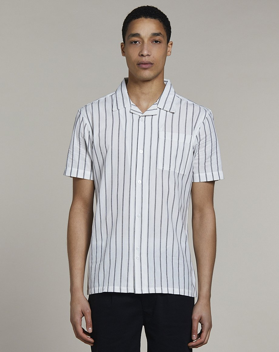 BELLFIELD REQUIEM STRIPED MENS SHIRT | WHITE