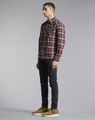 BELLFIELD RONIN CHECK MENS SHIRT | RED