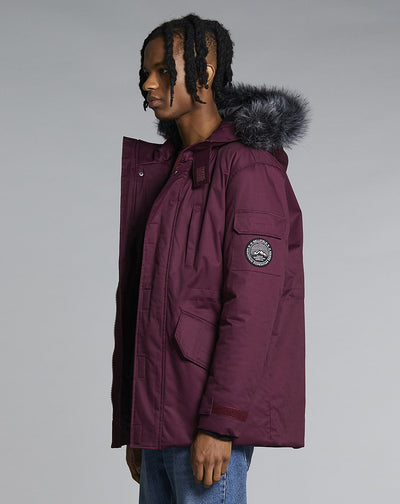 BELLFIELD TETHRA MENS PARKA COAT | PLUM