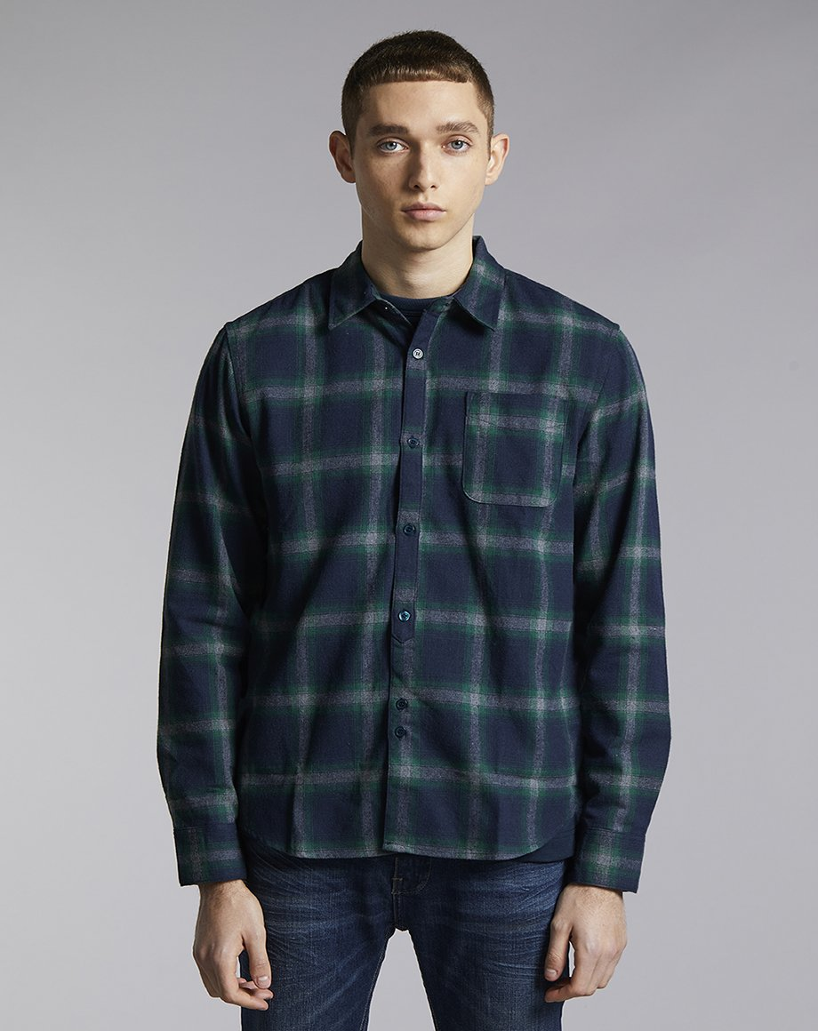 BELLFIELD UEMATSU CHECK MENS SHIRT | NAVY