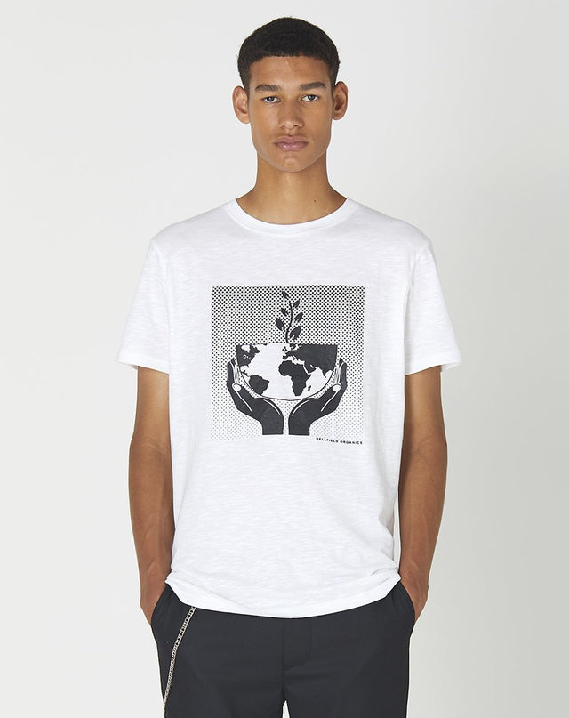 BELLFIELD UNISEX OUR PLANET 100% ORGANIC SHORT SLEEVE T-SHIRT | WHITE