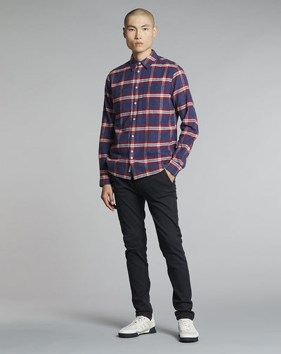 BELLFIELD VALLEGRANDE CHECK FLANNEL MENS SHIRT | CRIMSON