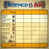 Heaven & Ale Družabna igra Board Game Scoring Sheet