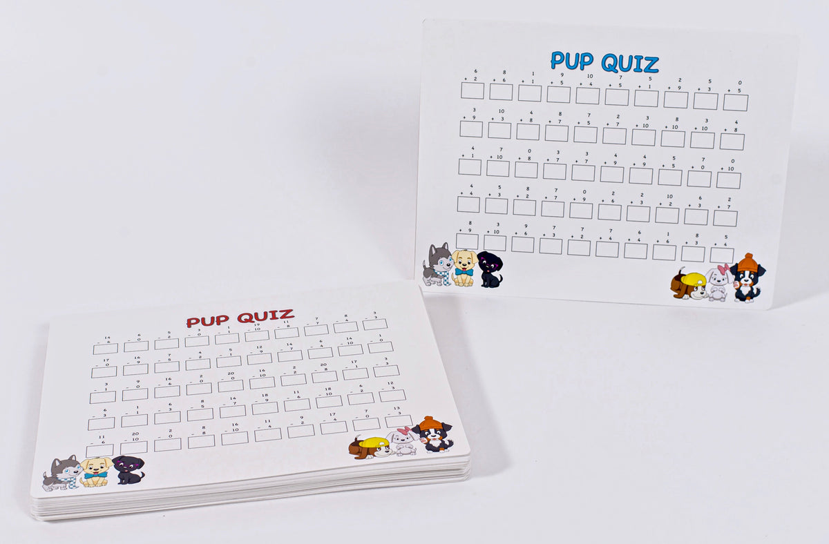 Pup Quiz: Addition, Subtraction, Multiplication, and Division Pup Quiz™ Reusable Fact Automaticity Dry-Erase Worksheets