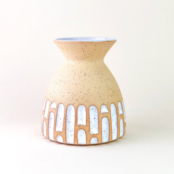 Hand-Carved Vase // White Inlay