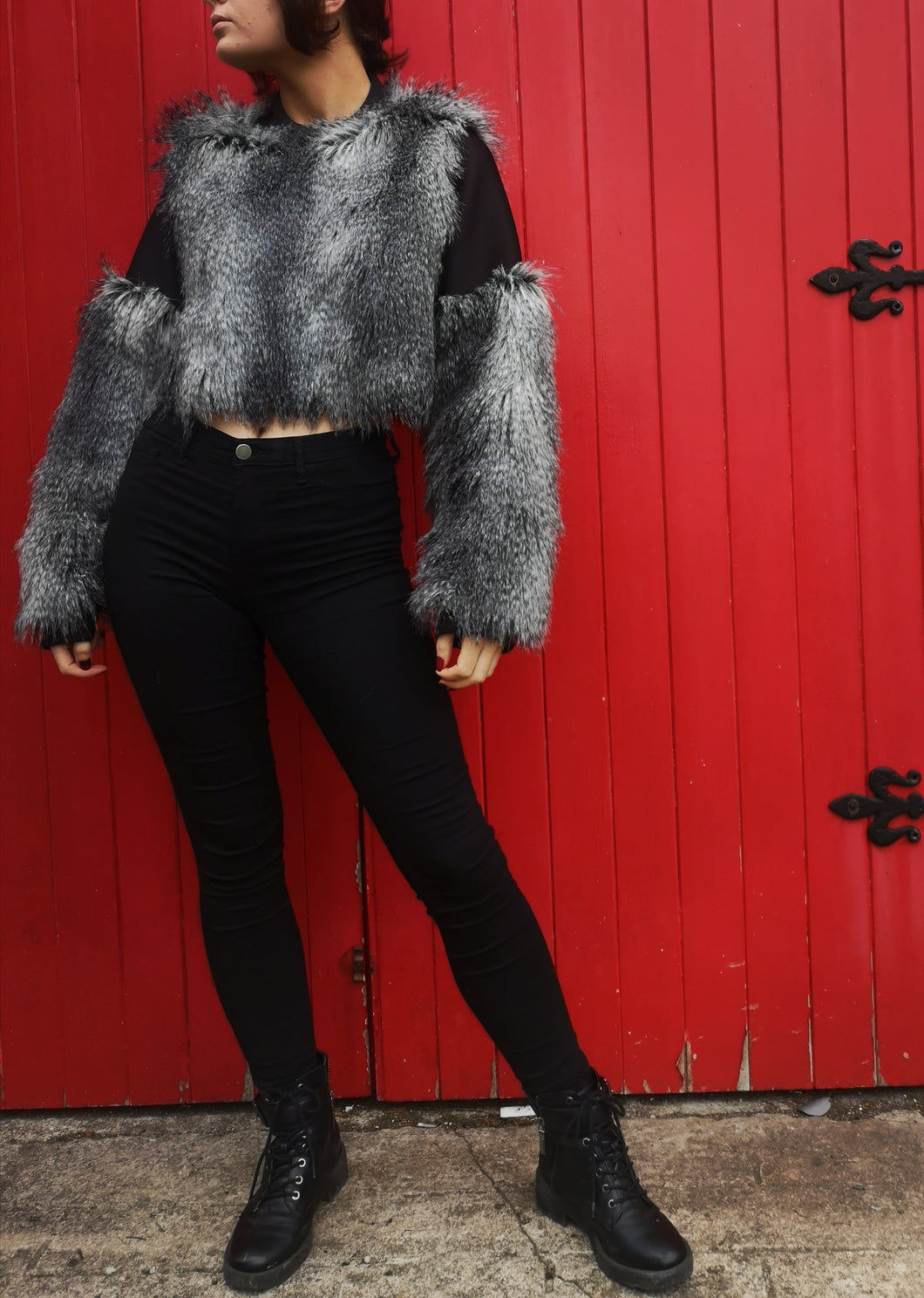 Ted Cropped faux fur Jumper