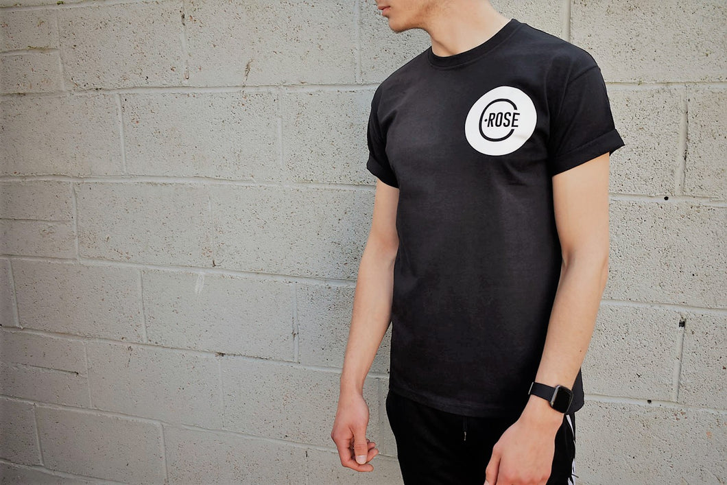 C.ROSE mens black graphic T-shirt