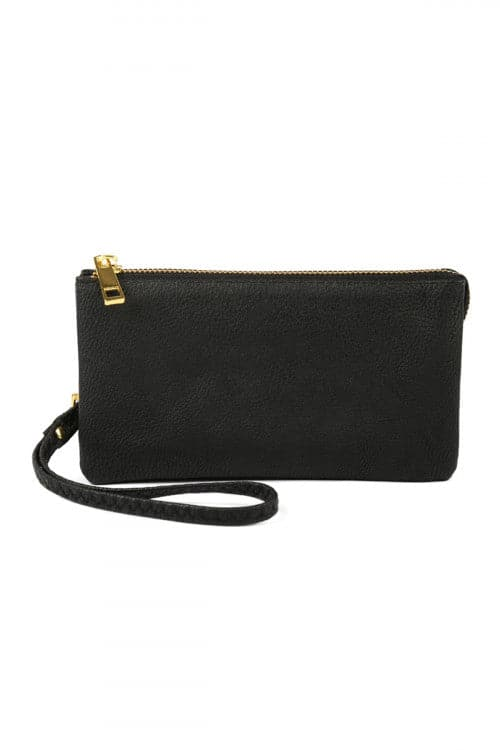 Leather Wallet with Detachable Wristlet Black