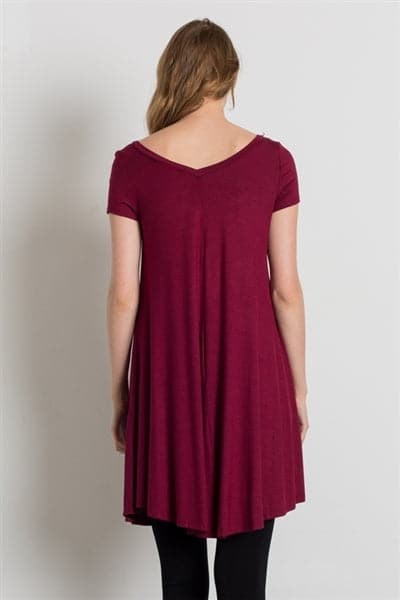Cap Sleeve Solid Dresses Burgundy  - Pack of 6