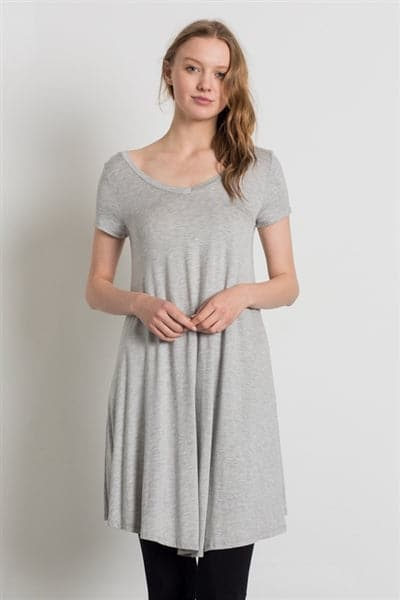 Cap Sleeve Solid Dresses Heather Grey - Pack of 6
