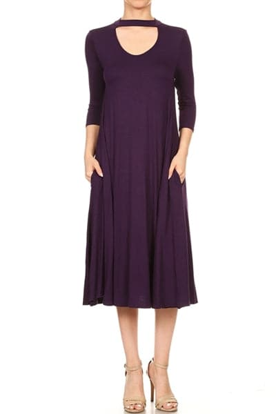 3/4 Sleeve Relaxed Fit Dress Eggplant - Pack of 6