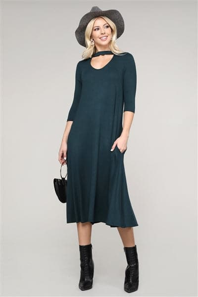 3/4 Sleeve Relaxed Fit Dress H. Green - Pack of 6