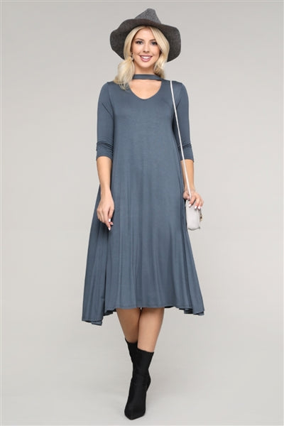 3/4 Sleeve Relaxed Fit Dress Titanium - Pack of 6