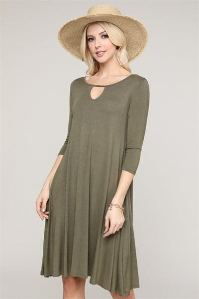 3/4 Sleeve Relaxed Fit Dress Olive - Pack of 6