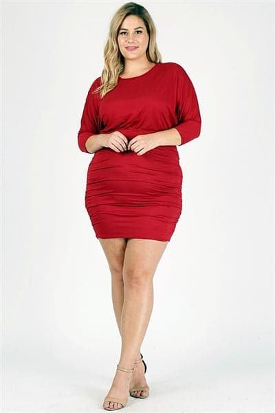 Plus Size 3/4 Sleeve Solid Dress Ruby - Pack of 6