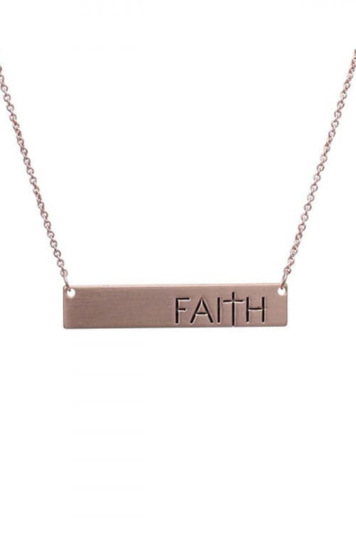 Rose Gold Bar Fairth Matte Necklace