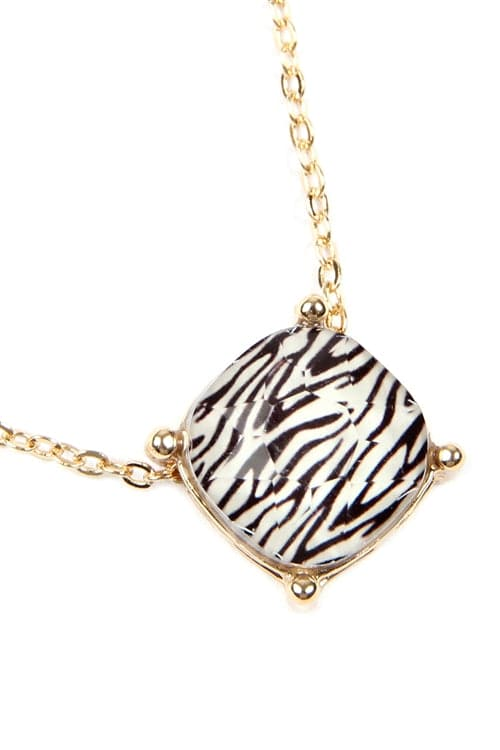12MM Cushion Cut Charm Necklace Zebra