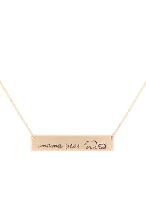 Mama Bear Bar Necklace Matte Gold - Pack of 6