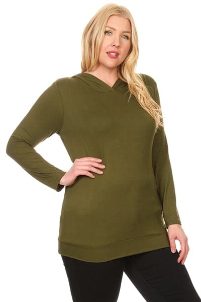 Plus Size Hooded Long Sleeve Top Olive - Pack of 6