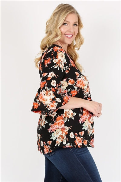 Plus Size 3/4 Bell Sleeve Boat Neck Floral Print Top Black - Pack of 6