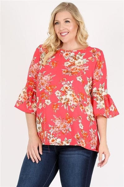 Plus Size 3/4 Bell Sleeve Boat Neck Floral Print Top Coral - Pack of 6