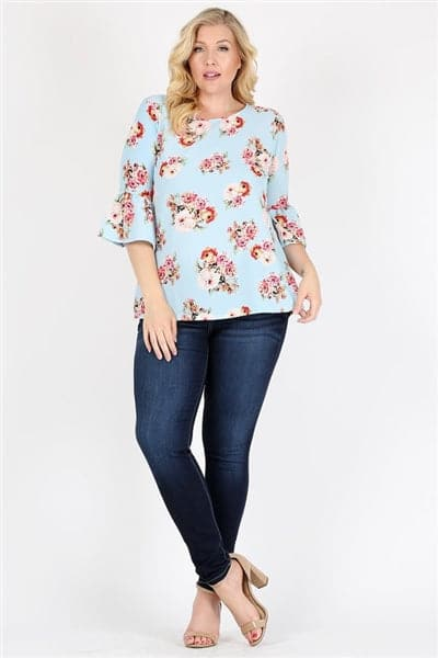 Plus Size 3/4 Bell Sleeve Boat Neck Floral Print Top Blue - Pack of 6