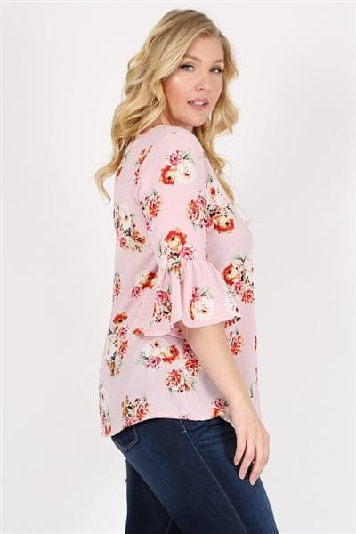 Plus Size 3/4 Bell Sleeve Boat Neck Floral Print Top Rose - Pack of 6