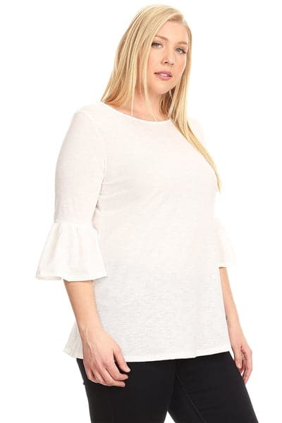 Plus Size 3/4 Bell Sleeve Top Ivory - Pack of 6