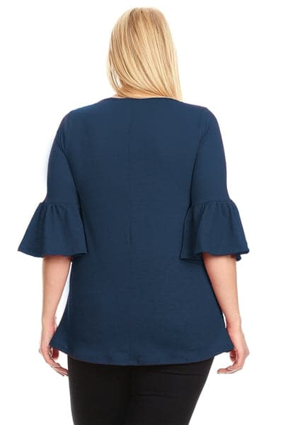 Plus Size 3/4 Bell Sleeve Top Navy - Pack of 6