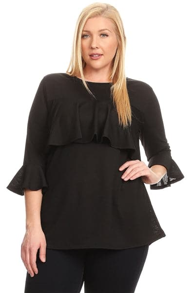 Plus Size 3/4 Sleeve Ruffle Design Top Black - Pack of 6