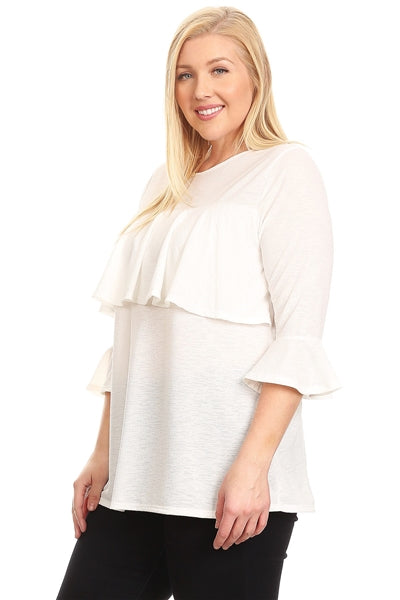 Plus Size 3/4 Sleeve Ruffle Design Top Off-White - Pack of 6