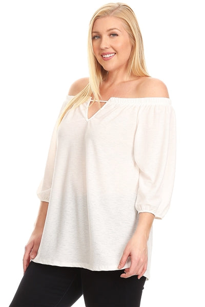 "Plus Size Off-The-Shoulder ""V"" Cut Top Off-White - Pack of 6"