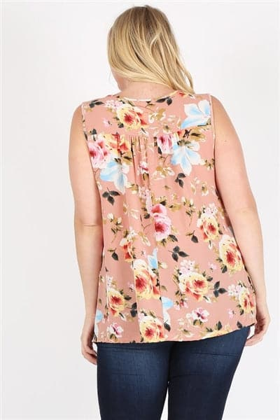 Plus Size Keyhole Sleeveless Floral Print Top Mauve Pink Blue  - Pack of 6