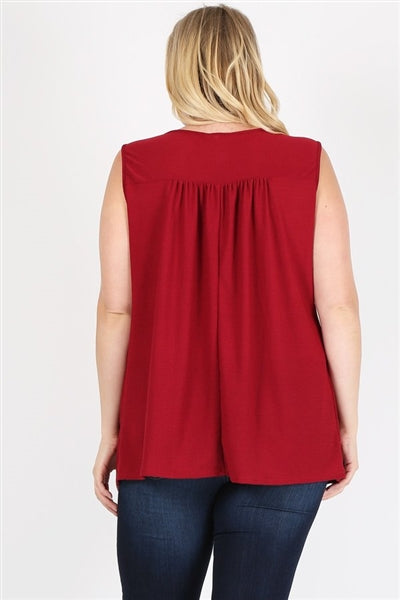 Plus Size Pleated Detail Keyhole Top Burgundy - Pack of 6