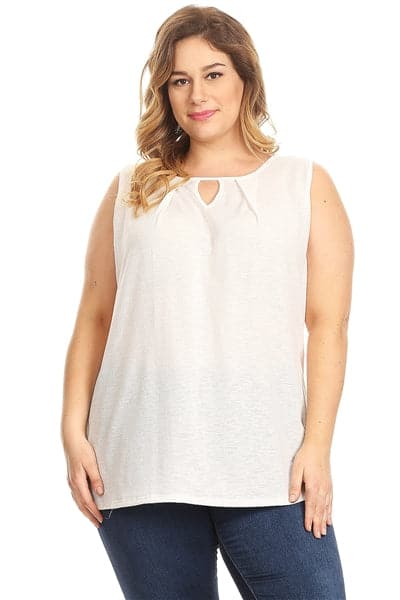 Plus Size Pleated Detail Keyhole Top Off-White - Pack of 6
