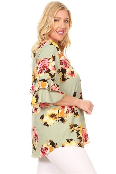 Plus Size Tiered Layered Sleeve Floral Print Top Sage Coral - Pack of 6