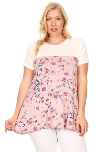 Plus Size Two Tone Floral Top Mauve - Pack of 6