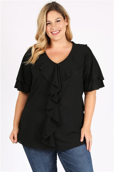 Plus Size Knit Solid Ruffle Top Black - Pack of 6